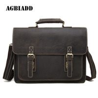 AGBIADD Genuine Leather Briefcase Crazy Horse Men Messenger Bags Leather Laptop Bag Maletin Hombre Brief Case