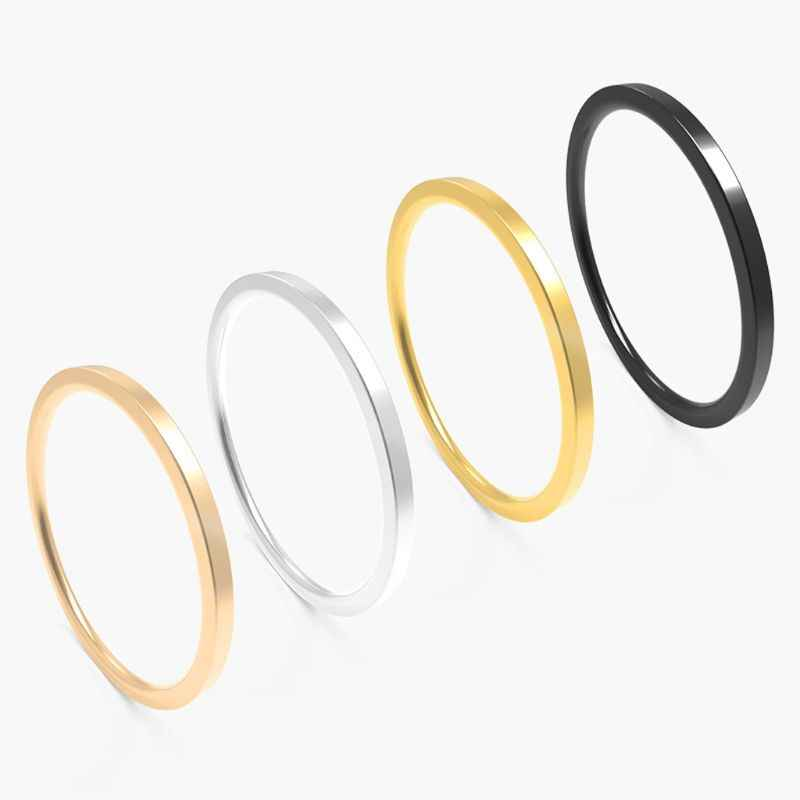 Minimalist 1 MM Super Skinny Smooth Titanium Steel Stacking Ring Fashion Jewelry