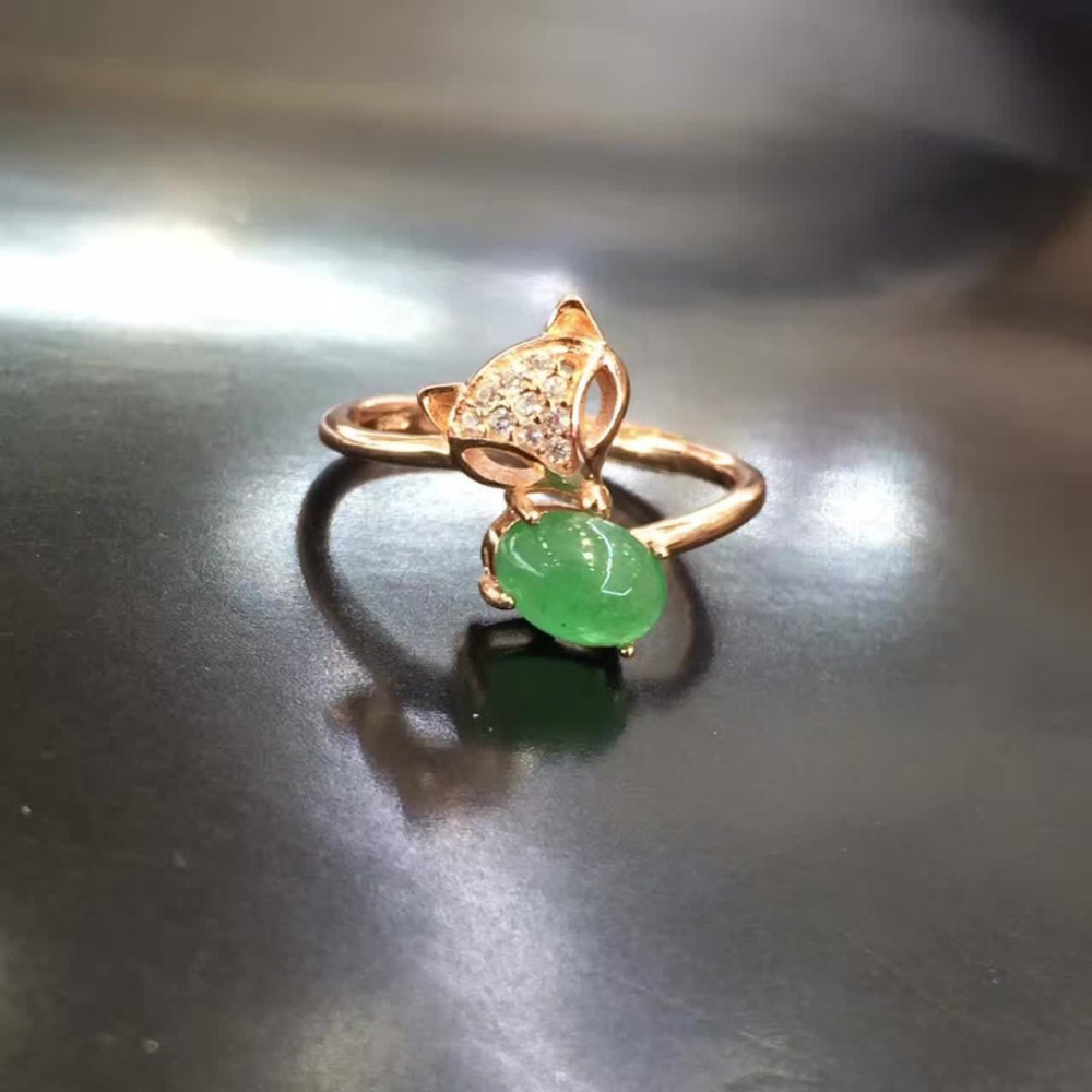2017 Real Jewelry Qi Xuan_Fashion Jewelry_Natural Green Stones Fox Head Rings_Trendy Jewelry Woman Rings_Factory Directly Sales