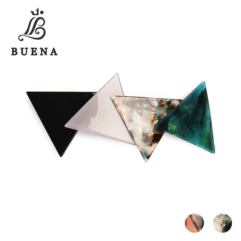 Buena Women Girls Stitching Hair Clip Acetate Triangle Delicate Hairpin Barrettes Jewelry Hair Decorations Accessories NG044