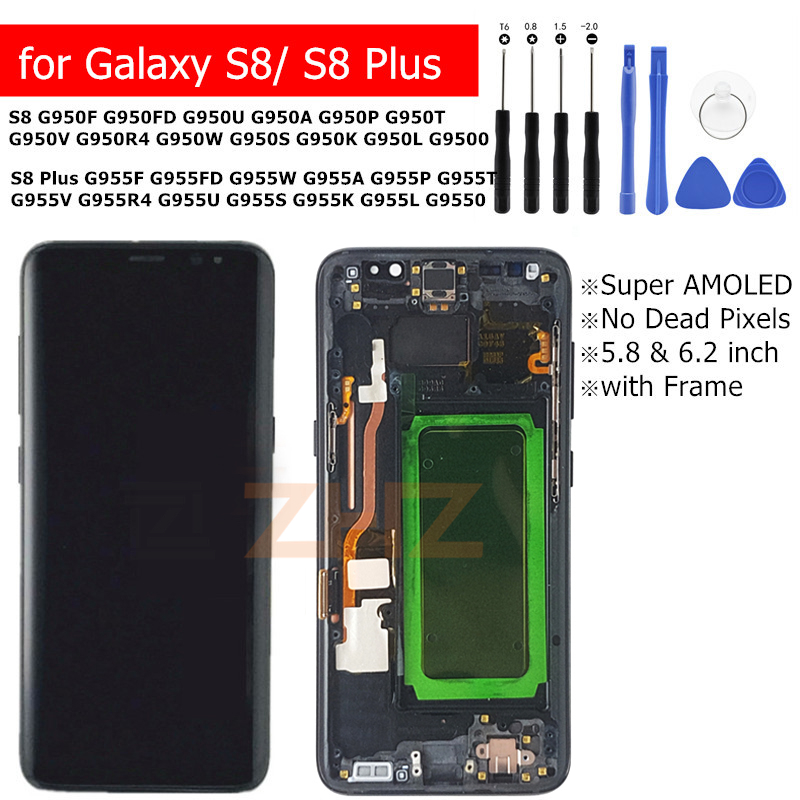 For Samsung Galaxy S8 G950 S8 Plus Lcd Display G955 Touch Screen Digitizer Assembly With Frame Replacement Repair Parts