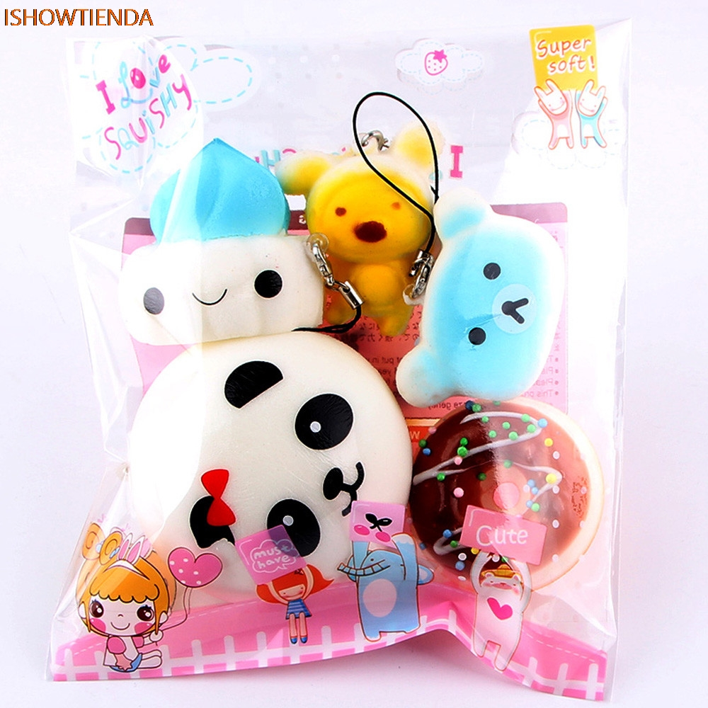 5pcs Medium Mini Soft Squishy Bread Toys Key Stress Relief Reliever Squishy Toy Hot Kid To