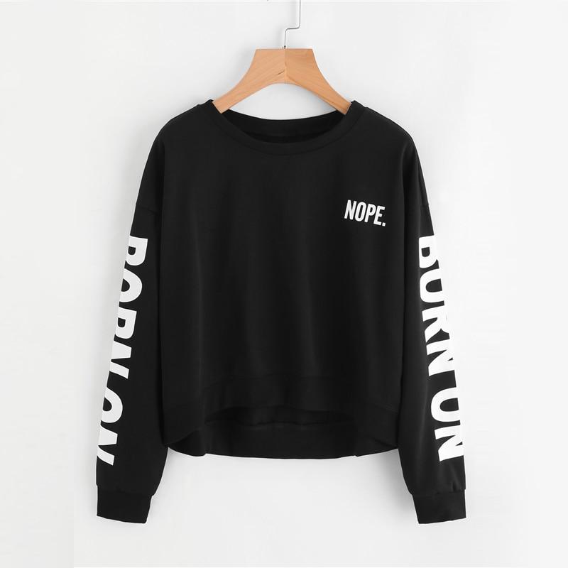 Letter Print Black Sweatshirt For Women