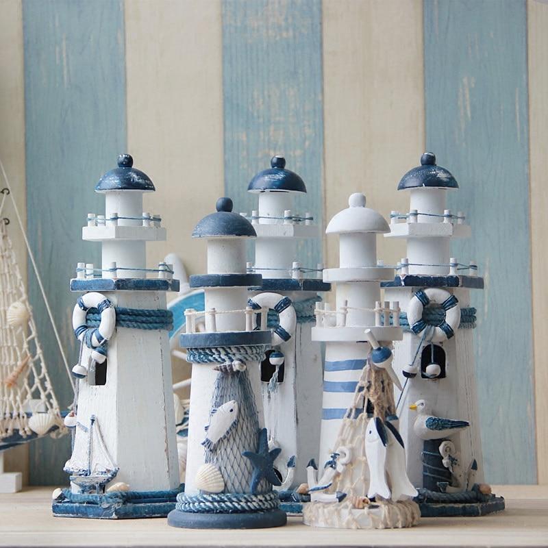 creative lighthouse wooden decorative arts and crafts mediterranean style navigation light. Black Bedroom Furniture Sets. Home Design Ideas