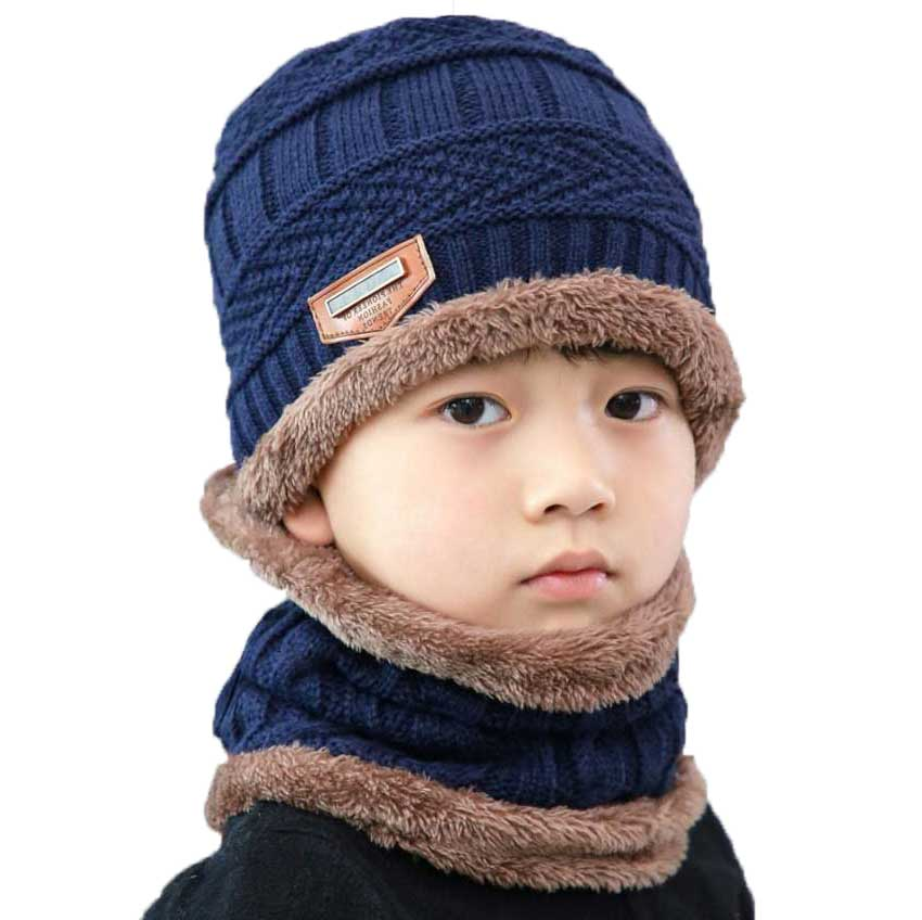Boys Winter Hat And Scarf Set For Children Girl Soft Stretch Cable Knitted Beanie Icon Cap Ring Scarves Kids Bonnet Warm 2 Pcs