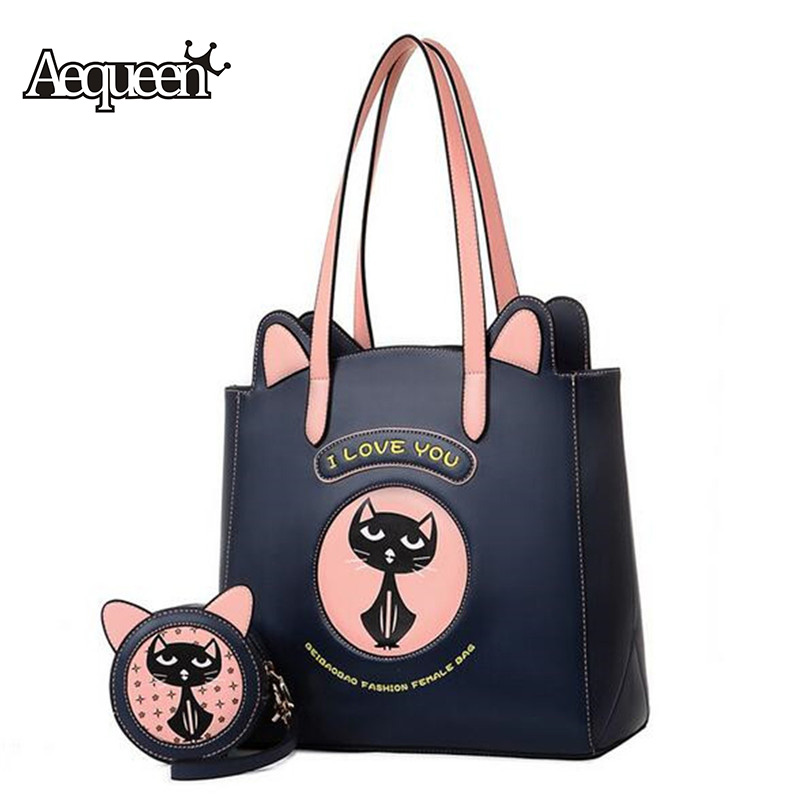 AEQUEEN 2PCS Women Bag Set Cute Cat PU Leather Handbags Hit Color Round Circular Crossbody Bags Cartoon Animal Ear Lady Totes