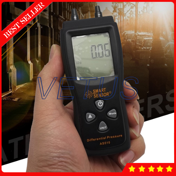 AS510 Cheap pressure gauge with Manometer 0~100hPa negative vacuum pressure meter lcd pressure gauge differential pressure meter digital manometer measuring range 0 100hpa manometro temperature compensation