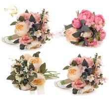 Красивые яркие розовые шелковые букеты цветов для подружки невесты