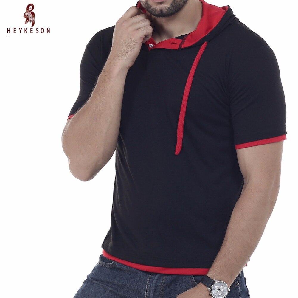 HEYKESON Brand 2018 Fashion Men'S Hooded Collar Sling Tops & Tees T Shirt Men Short Sleeve Slim Male Tops 4XL NFSD