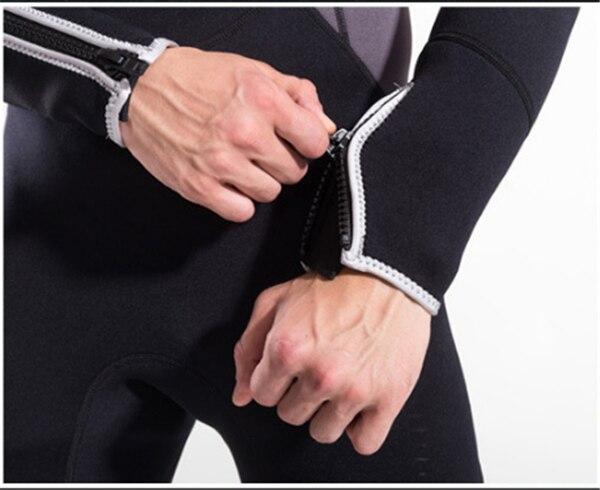 Hisea 1.5mm neoprene mens surf wetsuit one-piece diving suit long-sleeve swimwear black gray contrast- collar006