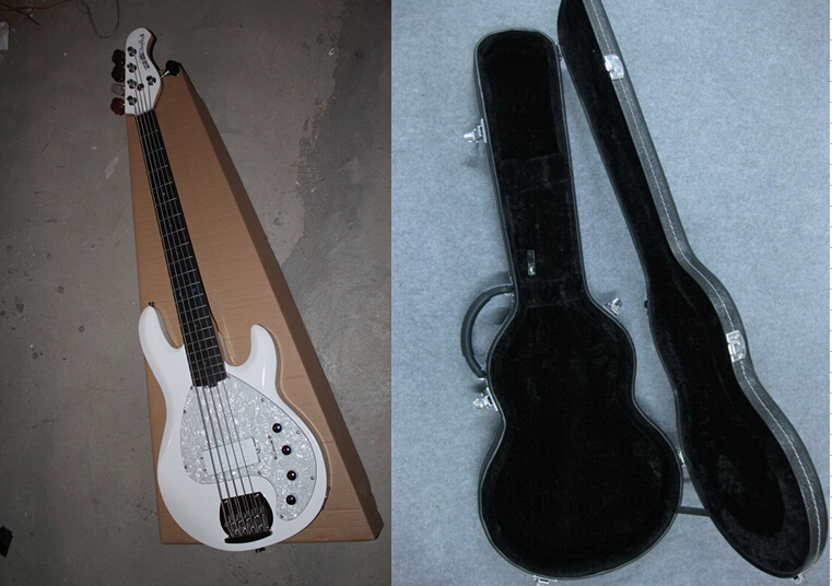 free shipping top quality white music man stingray 5 strings bass with active pickups bass. Black Bedroom Furniture Sets. Home Design Ideas