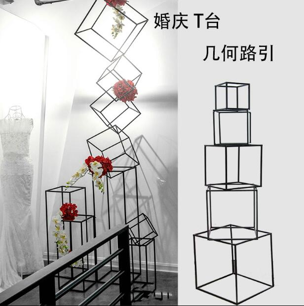 Wedding props decoration tie yi geometrical road flower holder wedding scene display window for the reception box