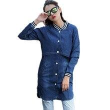 Autumn Denim Jackets Female 2016 Letter Print Women's Basic Coats Jaqueta Feminina Mujer Stitching Slim Cardigan Outerwear DH892