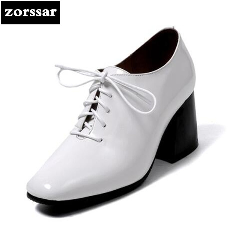 {Zorssar} 2018 New Patent leather womens shoes lace up Square toe High heels pumps Comfortable thick heel Ladies Dress shoes square heels 7 5 cm sapatos femininos high heels shoes woman round toe patent leather spring pumps t strap comfortable shoes