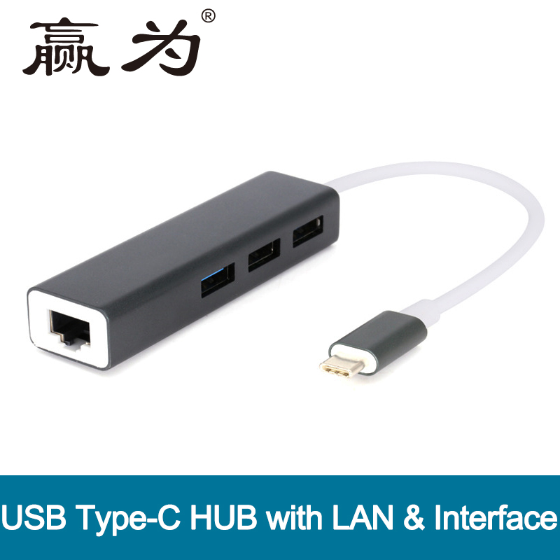 3 Ports USB 3.0 HUB Type C Thunderbolt 3 to RJ45 100Mbps Ethernet LAN Adapter Data Type-C Wired Network Card For Macbook