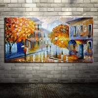 Hand Painted Knife Modern Street Corner Landscape Oil Painting On Canvas Home Decor Wall Art Picture