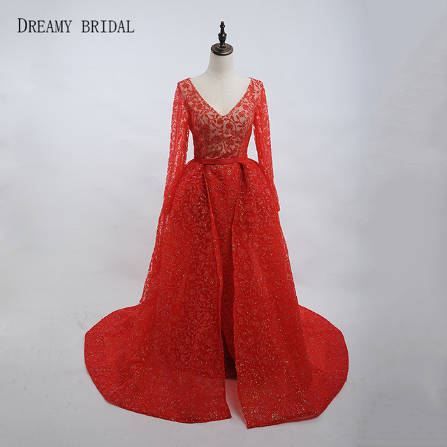 Dreamy Bridal Glued Glitter Evening Dresses Illusion Robe De Soiree Sexy V  Neck Long Sleeves Formal Gowns with Removable Train 3d413148591f