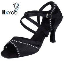 HXYOO 2017 Professional Rhinestone Salsa Dance Sandal Women Latin Ballroom Shoes Ladies Satin Soft Sole Black WK022