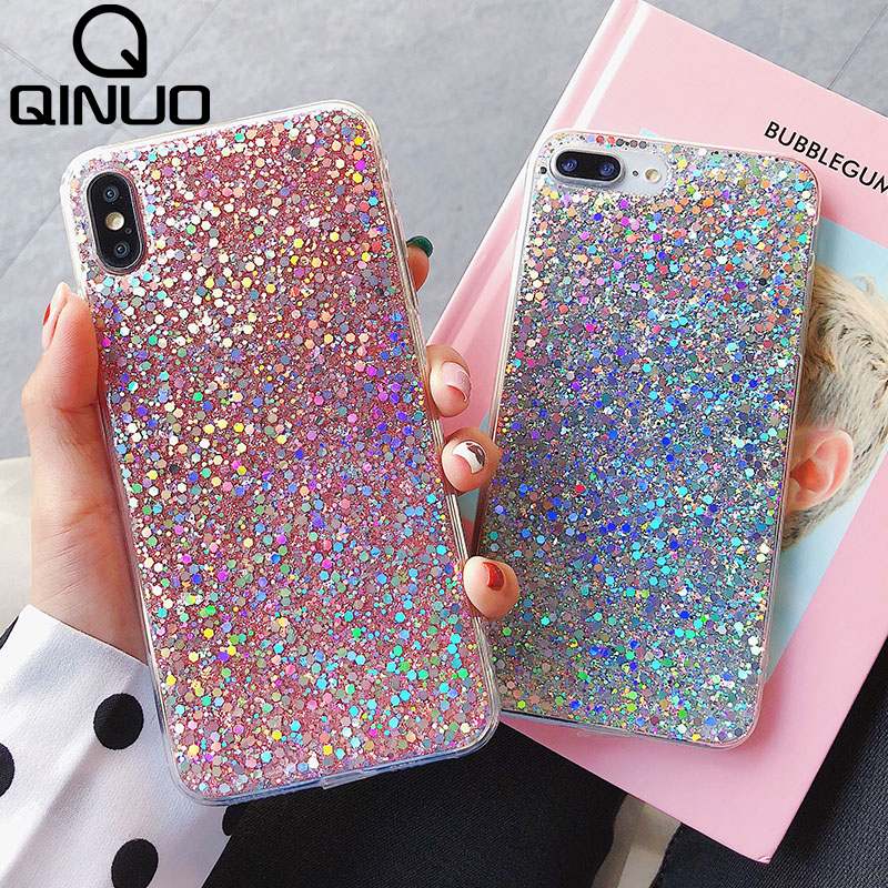 QINUO Shining Sequins Glitter Phone Case For IPhone 7 6 6S 8 Plus X XR XS Max Crystal Bling Silicone Cover For IPhone 5 5S SE