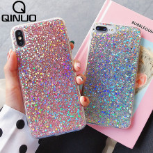 QINUO Brilhando Lantejoulas Glitter Caso de Telefone Para o iphone 7 6 8 6S Plus 11 X XR XS Max Cristal bling do Silicone Capa Para iPhone 5 5S SE Cintilante Pó de Coque Para iPhone 11 Pro Max 7 8 Plus(China)