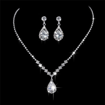 BOAKO Water Drop Cubic Zirconia Wedding Jewelry Sets inlay Luxury Crystal Bridal Jewelry Set Gift For Bridesmaids kolczyki X7-M3