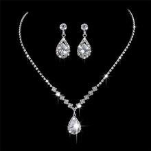 BOAKO kropla wody sześcienny z cyrkoniami zestawy biżuterii ślubnej wkładka luksusowy kryształ zestaw biżuterii ślubnej prezent dla druhen kolczyki X7-M3 tanie tanio Moda TRENDY 1 piece necklace + 2pcs earrings OG0312HSJ Ślub Ze stopu cynku Kobiety Naszyjnik kolczyki
