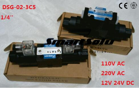 Free shipping DSG-02-3C5 RC 1/4 220V AC  Directional Valve,Three Positions, Spring Centred,Terminal Box plug-in connector type smt dsg 02 3c5 rc 3 8 24v dc solenoid operated directional valve 3 positions spring centred terminal box plug in connector type