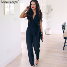 Women Pocket Jumpsuit 2019 Summer Sexy Lace Sleeveless V-Neck Ladies Belt Long jumpsuit women black casual