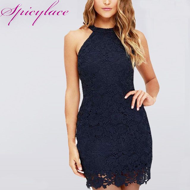 9fa7019292c Spicylace Women Vintage Halter Elegant Lace Sexy Dress for Wedding Night  Club Off Shoulder Sleeveless Bodycon Mini Dresses