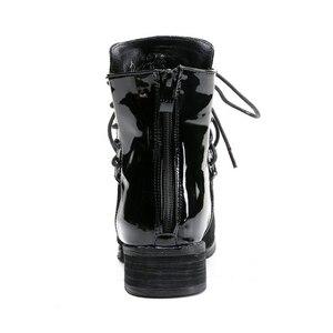 Image 2 - JIANBUDAN marka moda PU skórzane damskie buty motocyklowe jesień skórzane sznurowane botki kobiece buty zimowe śnieg 35 43