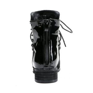 Image 2 - JIANBUDAN מותג אופנה עור מפוצל נשים של אופנוע מגפי סתיו עור שרוכים קרסול מגפי חורף שלג מגפי 35 43