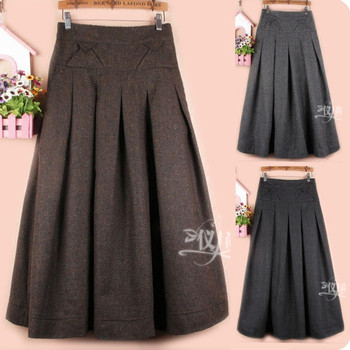Free Shipping 2018 New Fashion Long Maxi A-line Skirts For Women Elastic Waist Autumn Winter Pleated Wool Skirt Balck And Grey free shipping 2020 new fashion wool elegant long mid calf women skirts pencil s xl high waist autumn and winter striped skirts