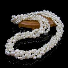 Жемчужное ожерелье-18,5 дюймов 4 нити 4-5 мм и 7-8 мм белый цвет натуральный пресноводный жемчуг ожерелье