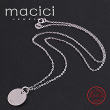 2017 Real 925 Silver Round Necklace for Women Long Chain Necklace 40 cm / 45 cm Ethnic Choker Necklace Free Engrave (DA1688)