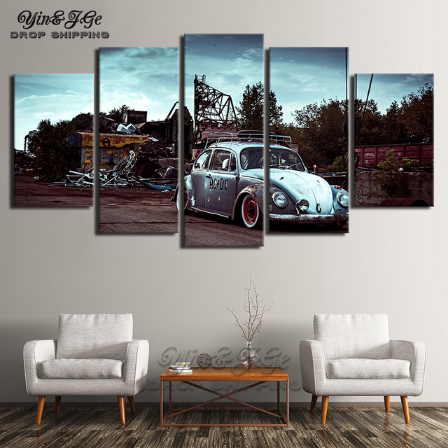 Canvas Prints Painting Bedroom Wall Art 5 Pieces Volkswagen Beetle Car Pictures Modular Abstract Scenery Poster Home Decor Frame