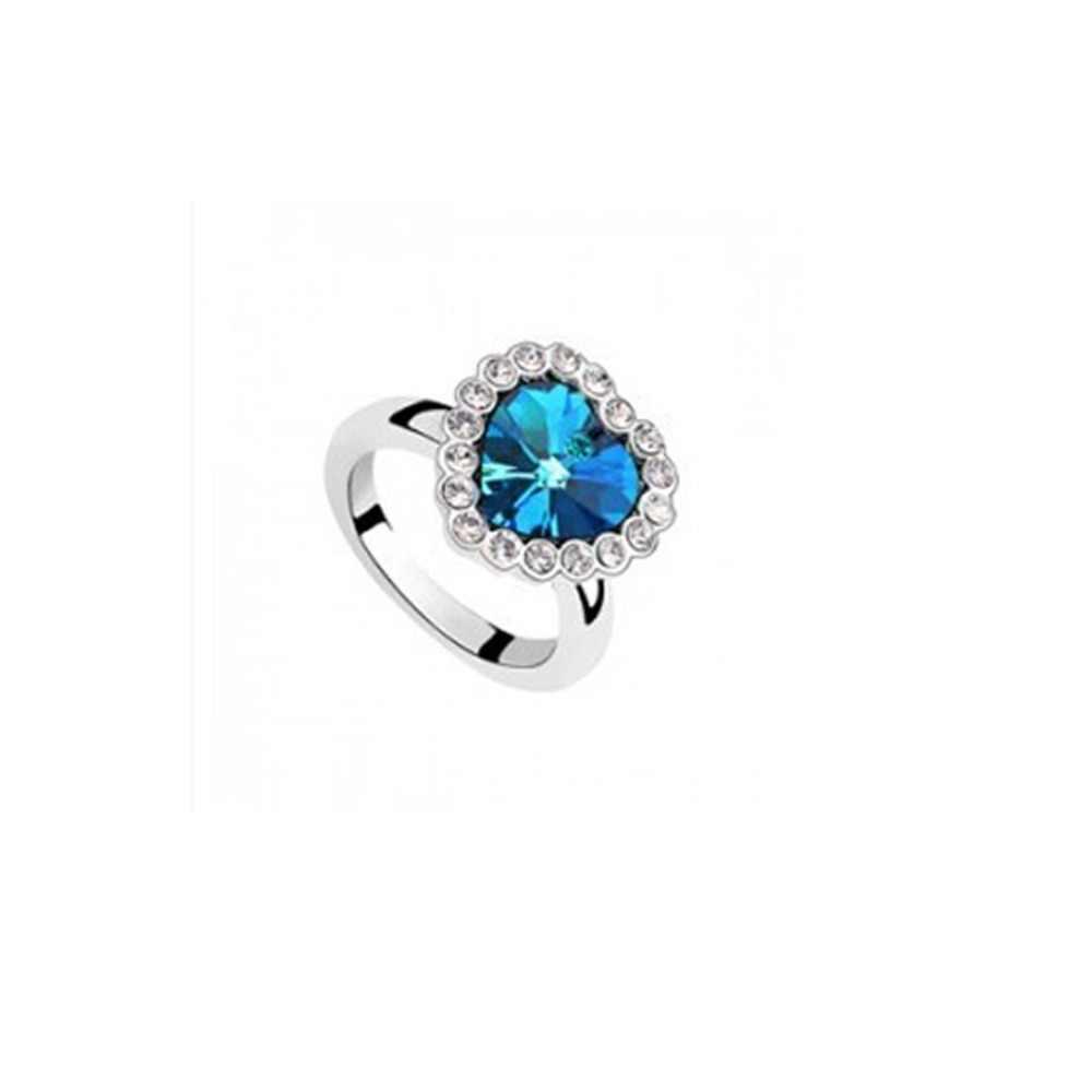 Caliente LNRRABC nueva forma corazón Austria cristal piedras anillos de compromiso para las mujeres regalo de boda