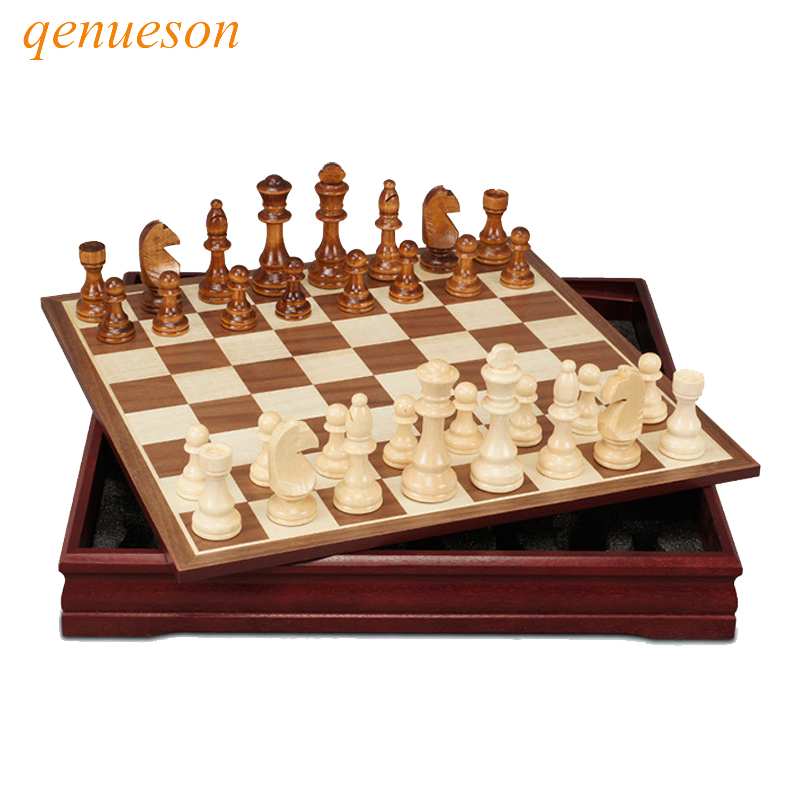 New High Quality Pattern Chess Pieces Wood Coffee Table Professional Chess Board Family Game Chess Set Traditional Game qenueson chess and mathematical thinking