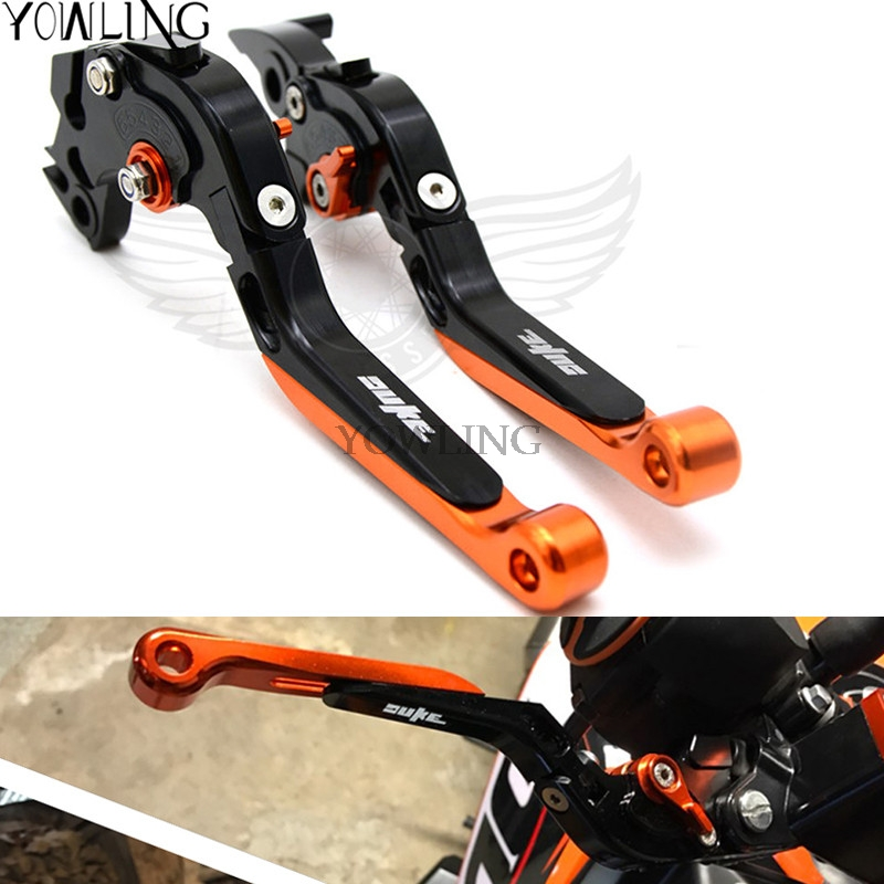 For KTM 390 Duke/RC390 2013-2017 CNC Aluminum With  DUKE logo Folding & Adjustable&Extenable Motorcycle Brake Clutch Levers hot high quality motorcycle accessories cnc aluminum handlebar risers top cover clamp fit for ktm duke 390 200 125 with ktm logo