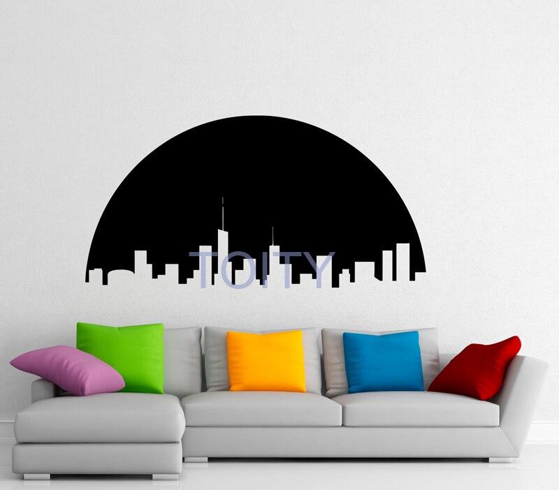 Луна город настенные наклейки звезды символ виниловые наклейки детские дети художественный Декор Съемный Графический росписи H57cm x W114cm