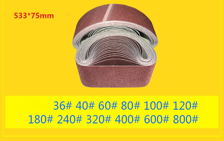 New 5pcs 533*75mm Abrasive Sanding Belt On Metal Belt Grinder For Belt Sander