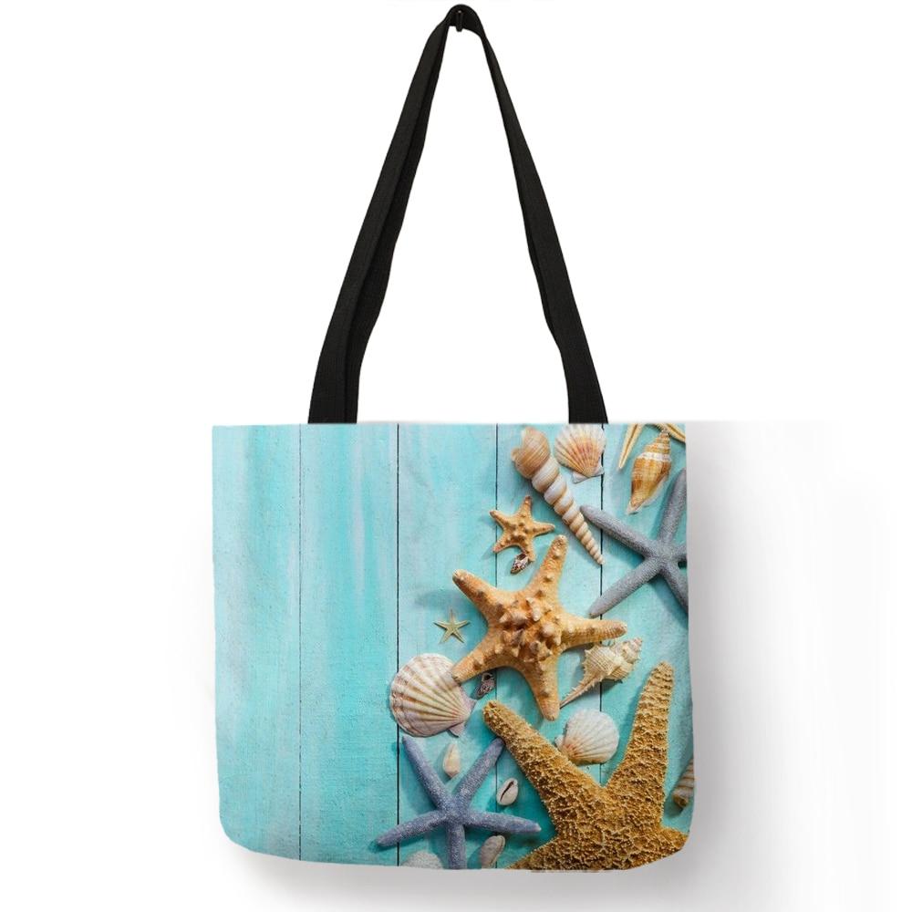Ladies  Shoulder Bag Blue Ocean Starfish Beach Sand Prints Tote Bag Linen Fabric Beautiful Casual Practical Handbag