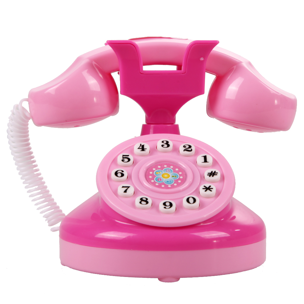 Telephone Toy Educational Emulational Pink Phone Pretend Play Toys Girls Toy Gifts