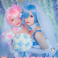 Cosplay Wedding Dress Girl REM Cos Anime RAM Wig Re:Zero Starting Life in Another World Costume Play Halloween Party Costumes