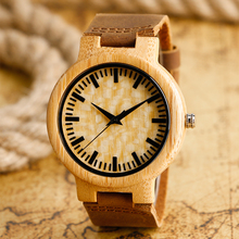 Mens Creative Wood Watch Genuine Leather Band Strap Sport Quartz Novel Bamboo Wooden Wrist Watch Montre en bois
