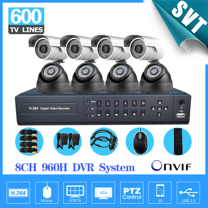 8 Channel IR Surveillance CCTV Camera Kit Home Security network HDMI 1080P DVR NVR video Recorder cctv System 960H D1SK-188 sannce 8 channel 720p 1080n h 264 video recorder hdmi network cctv dvr 8ch for home security camera surveillance system kit