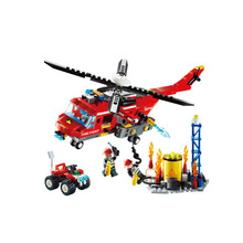 GUDI 9214 Building Blocks Heavy Fire Helicopter Off-road Car model kit Bricks Boy Friends Educational Toys For Children Gifts banbao 7110 fire station firefighters truck helicopter educational building blocks model toy bricks for children kids friends