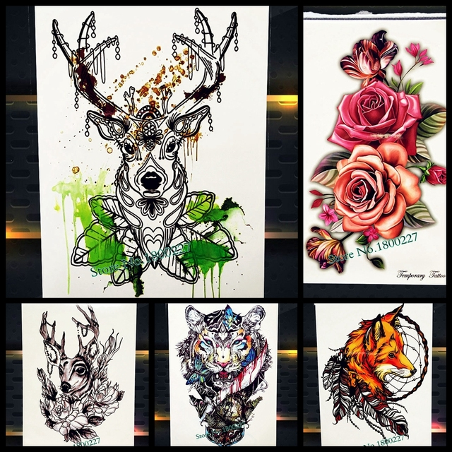 55469e972 25 Style Long Lasting Deer Temporary Tattoo Women Body Art Tatoo Arm Sleeve  Henna Rose 21x15CM