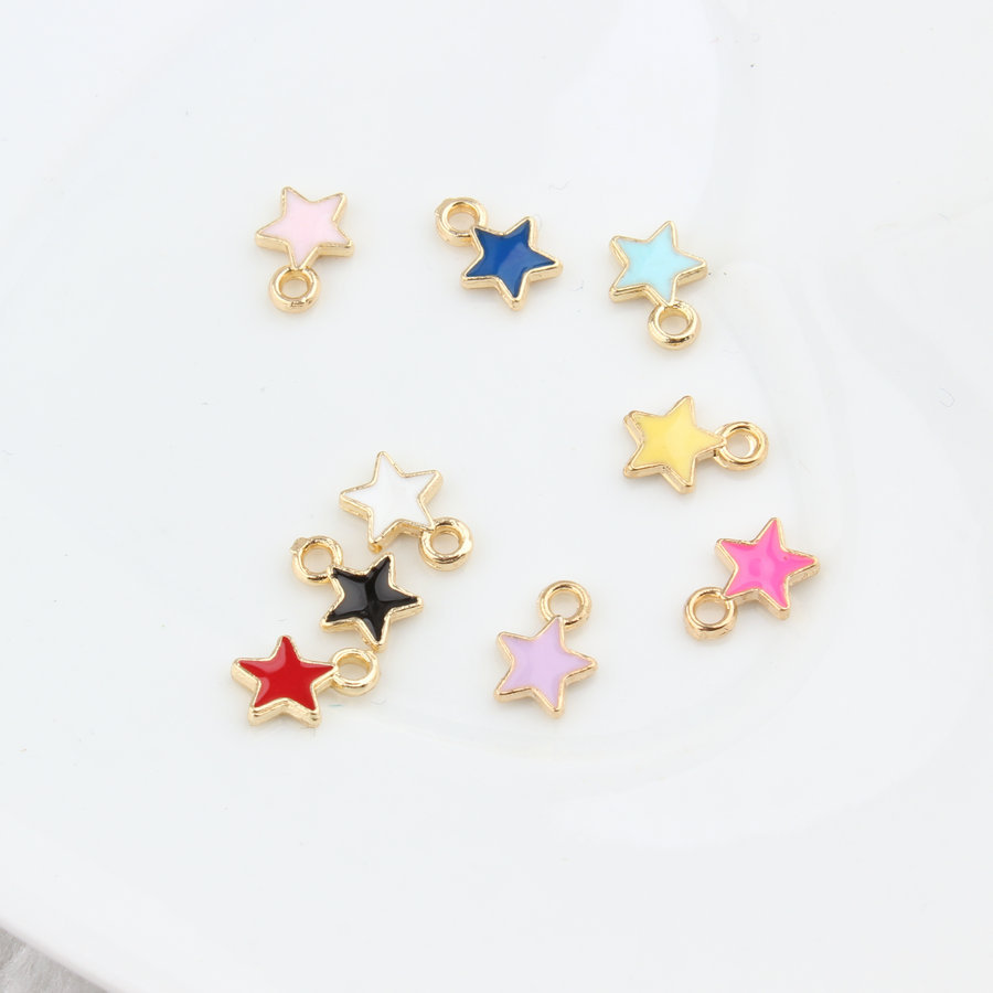20pcs Colorful Enamel Alloy Five-pointed Star Charms Pendant Jewelry Making