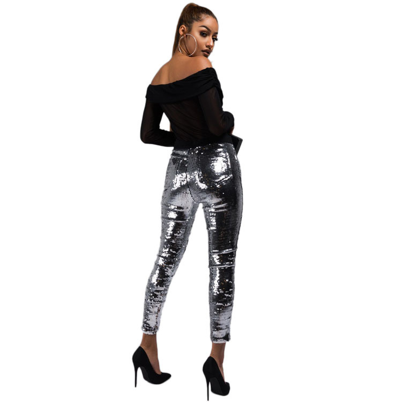 Ladies Nightclub Sequin Pencil Pants 2018 Solid Silver Women Bling Skinny Calf-length Trousers Party Leggings Female Streetwear