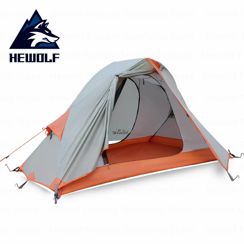 Hewolf 1 Person Aluminum Pole Ultralight Camping Tent Outdoor Double Layer 190T Polyester Waterproof Tent Camping